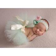 ベビーレーススカート リボン ヘアバンド 写真撮影用 出産祝い 新生児 記念撮影 子供服