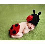 ベビーコスチューム てんとう虫衣装 ハロウィン 毛糸 仮装 写真撮影用 出産祝い 新生児 記念撮影 子供服