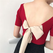女性服 夏服 韓国風 背中開き リボン ニット 半袖Tシャツ ブラウス ボトムシャツ 気