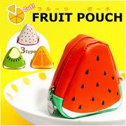 果物好きにはたまらない!★かわいくオシャレで三角形のフルーツポーチ♪全4種類