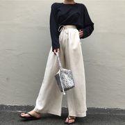 韓国 シンプル レジャー ハイウエスト 包帯 ワイドパンツ 長袖Tシャツ 2点セット 女