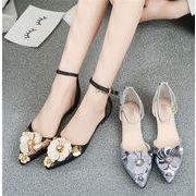 ★シューズ新作★お花 ファッション ローヒール 靴 女靴 花飾り 2色