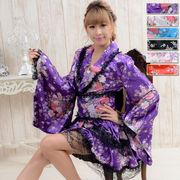 【再入荷】1003レースフリルリボンつきサテン花魁着物ドレス 衣装 ダンス よさこい コスプレ キャバドレス
