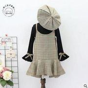 ★初秋新品★キッズファッション★キッズセット★3点セット★シャツ+吊りワンピース+帽子