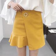 夏 新しいデザイン 韓国風 ハイウエスト 何でも似合う 単一色 着やせ フィッシュテイル