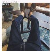 香港香港韓国でロングコートのメンズ スリム ジーンズ秋若いスリムな足潮パンツ
