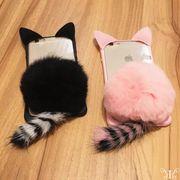 【即納73210】 新作 フェイクファー ポンポン ネコ耳 &しっぽ デザイン iPhone ケース☆7/7PLUS