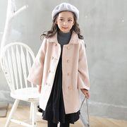 新作★女の子 ショールカラー 冬コート 暖かいボア裏地★アウター キッズ 子供服 全2色