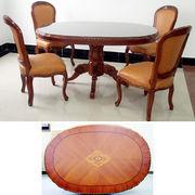 天然木楕円テーブル:150*90:象嵌