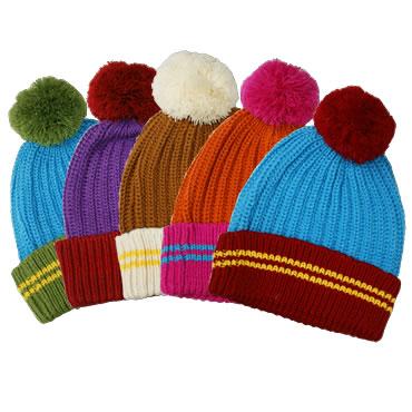 ボーダーボンボンニット帽(全5色)【フリーサイズ/男女兼用】【帽子】