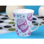 【強化】 マグカップ おしゃれ 340ml絵柄付ラッパ形マグカップ カップル 絵柄(630-1)