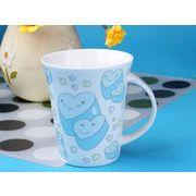 【強化】 マグカップ おしゃれ 340ml絵柄付ラッパ形マグカップ カップル 絵柄(630-2)