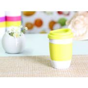【強化】 320ml単層陶器製タンブラー(黄緑色) 【シリコンバンドの色で選ぶ】