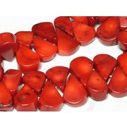 珊瑚(染色) 連販売 真紅 ドロップ 約18×12mm