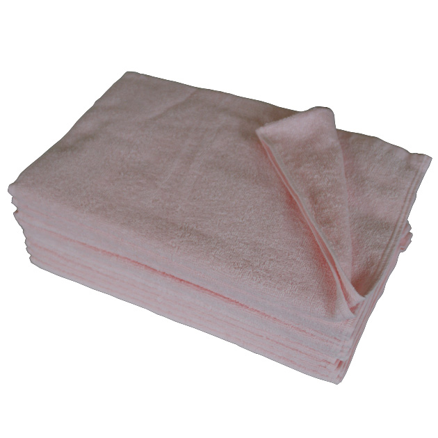 250匁フェイスタオル12枚セット:ピンク【34x85cm/美容室 美容院 エステ サロン 業務用タオル】