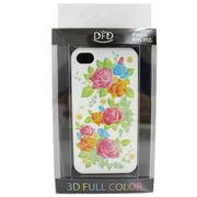【iPhone 4/4S対応】DFD iphoneケース 3Dフルカラー  ハードなのにソフトな手触り 薔薇 白