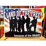 アメリカンブリキ看板 自由の国 勇士がいるから