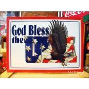アメリカンブリキ看板 アメリカに神のご加護を