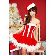【即納】 正面大きいリボン付サンタコスプレ クリスマスコスチューム