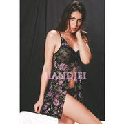 【即納】紫花柄ベビードール Tバック 胸元リボン付ランジェリー セクシーセールSALE