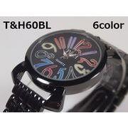 T&Hユニセックス腕時計 メタルウォッチ ガンメタ 日本製ムーブメント