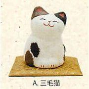【ご紹介します!信頼の日本製!ほっこりかわいい!ちぎり和紙金運にゃんこ(3種)】A.三毛猫