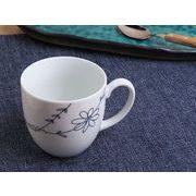 【スッキリ感&愛らしさ】 フラワーライン ほっこりマグカップ 黒