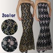 刺繍ベアトップロングドレス