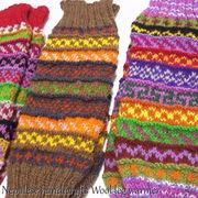 ウール100%を編み込んだ手編みのレッグウォーマー♪ノルディック柄ウールニットレッグウォーマー