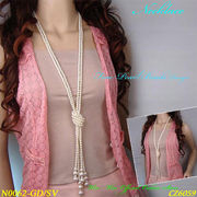 ネックレス シングルとダブルゴールド&シルバーロングパールビーズデザインネックレス