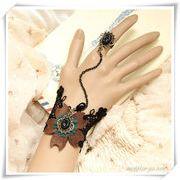 アンティック風白黒ブレス&リング L0036