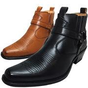 ウェスタンブーツ リングブーツ サイドゴア ショートブーツ 脚長 メンズブーツ 紳士靴