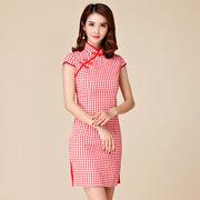 大きいサイズ チェック柄チャイナドレス パーティードレス 裾スリットのタイトドレス M/L/2L/3L/4L 9880