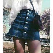 デニムスカート ミニスカート Aラインスカート台形スカート春夏定番ミニデニムスカート