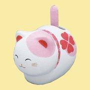ゆらゆらソーラー 風水座り猫/ピンク
