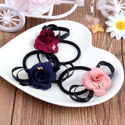 髪ゴム ヘアゴムリング リボン ヘアアクセサリー 布製 バラ 花