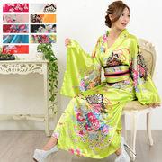 【新色追加】0232帯付き花魁シリーズ☆和柄サテン着物ロングドレス衣装 よさこい コスプレ キャバドレス