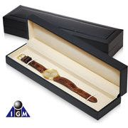 IGM 腕時計収納 革バンド用1本収納ウォッチボックス 黒クロコ紙張り IG-ZERO34-1
