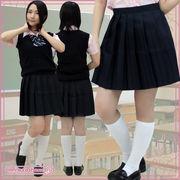 1211A■MB■送料無料■ 無地プリーツスカート単品 色:紺 サイズ:M/BIG