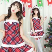 【即日出荷】チェック 2層フリル  サンタクロース コスチューム クリスマス 【9210】