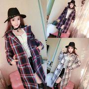 ロングコート スリム チェック柄 ダブルブレスト 韓国風 ファッション 全2色 #200303
