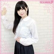 ■送料無料■ 丸襟長袖シャツ単品 色:白 サイズ:M/BIG