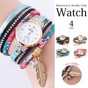 【即納】【小物】全4色!!花柄&ラインストーンメタリック3連ベルト チャーム付きラップ腕時計[wat5010]