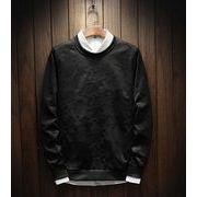 2018春新作メンズトップス 長袖Tシャツ大きいサイズ カジュアル シンプル♪ブラック/ダークカーキ2色