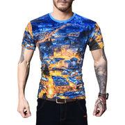 夏 新品 外 男性服装 ヨーロピアンスタイルの プリント 半袖 丸襟 シャツ 男
