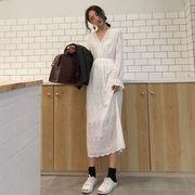 春 新しいデザイン 韓国風 風 何でも似合う 襟 ヘッジ ウエスト 着やせ 白 ジャカー