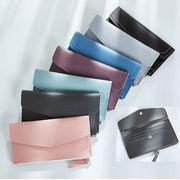 【一部即納】シックで可愛い5色 スリムタイプPUレザー長財布/ファスナー式の小銭入れ 4色