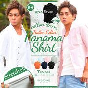 【IMP】綿麻 パナマ織り ストレッチ イタリアンカラーシャツ