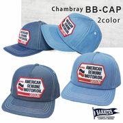 帽子 キャップ メンズ BBキャップ ロゴ ワッペン シャンブレー PENNANTBANNERS