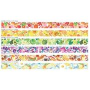マスキングテープ 包む 水彩 カラフルフードシリーズ 食べ物柄 カラー 15mm Tsutsumu masking tape